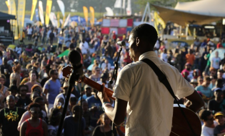 Bongeziwe Mabandla at Bushfire festival in 2015. Photo: Dave Durbach / Music In Africa