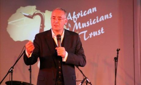 Glenn Robertson speaking at the launch of the African Musicians Trust. Photo: Facebook