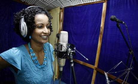 Eritrea's Helen Meles during a recording session. Photo courtesy of Tedros Abraham