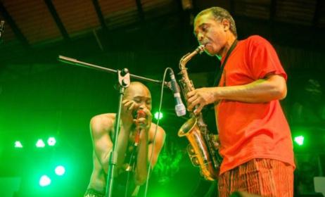 Femi ans Seun Kuti performing at Felabration. Photo: Ayo Akinwande