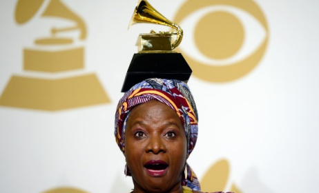 Angelique Kidjo poses with one of her Grammy awards. Photo: Grammys.