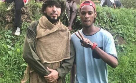 French Montana with a crew member on set in Uganda. Photo: Arnold Jethro/Facebook