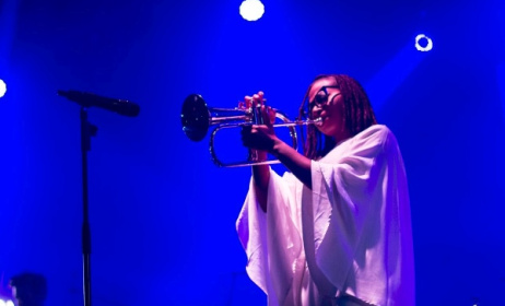 Asa plays the trumpet.  Photo: AsaEncore